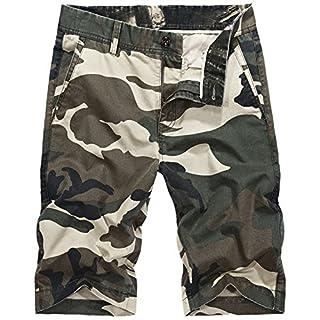 DeLamode Männer Shorts Armee Camouflage Thin Pocket Gürtel Cool Sommer Tooling Hosen Khaki-33