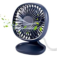 TekHome Desk Fan with USB, Mini 120mm Fan Desktop, Silent Electric Air Circulator for Home Office, Gadgets for Men, 3 Speed, 90° Adjustable, Birthday Gifts for Men, Blue.