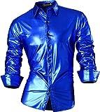 jeansian Herren Freizeit Hemden Bronzing Slim Button Down Long Sleeves Dress Shirts Tops Z036 Oceanblue XL