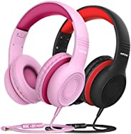 Mpow CH6 [2 Pack] Kids Headphones with Safety 85dB Volume Limited, Wired On-Ear Headsets for Kids, Food Grade