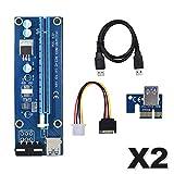 THISHRIC - Riser PCI-E - Carte d'extension - PCI Express 1x vers 16x - Cable USB 3.0 de 60 cm- Molex et Sata - Idéal carte graphique (GPU), rig minage - Lot de 2