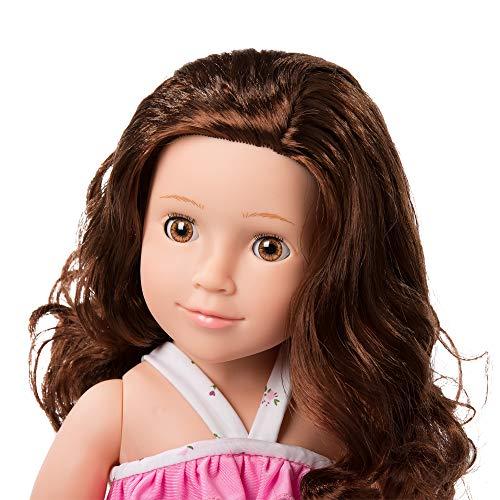 MeiMei 45 cm Mädchen Puppe mit braunen Haaren braune Augen voller Vinyl Badeanzug Spielzeug Geschenkbox für Kinder Alter 3 + (Alte Mode Badeanzüge)