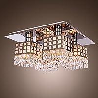 William 337 Kristall Kronleuchter Deckenleuchte LED Edelstahl Chassis  Moderne Retro Kristall Deckenleuchte 4 Lichter [Energie