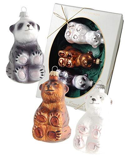 Krebs Glas Lauscha Baumanhänger Eisbär, Braunbär, Panda aus Glas - Weihnachtsbaumschmuck - Made in Germany