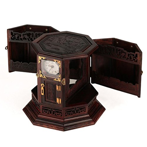 Meydlee Retro Rustikaler Stil Handcrafted Octagon aus Holz Schmuckschatulle Organizer Hand geschnitzte Blumenmuster Schmuck Truhen mit Schloss und Uhr (Asos-tier)