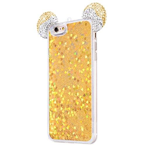 WE LOVE CASE iPhone 6 / 6s Hülle Weich Silikon Kristall klar Maus Ohr Silber iPhone 6 6s Schutzhülle Handyhülle Im Transparent Treibsand Quicksand Glitzern Funkeln Bling Sparkle Diamant Durchsichtig L Golden