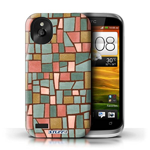 Kobalt® Imprimé Etui / Coque pour HTC Desire X / Vert/Brun conception / Série Carrelage Mosaïque Rouge/Bleu