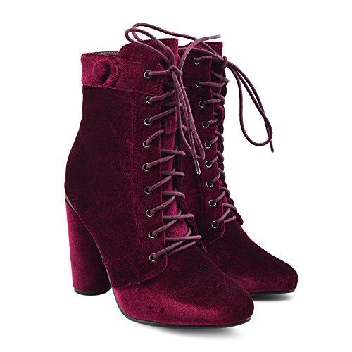 Kick Footwear - Donna Stampa Floreale Di Colore Multi Ankle Boot Blocco Tacco Alto Scarpe Celeb Borgogna