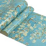 zyy Papier Peint Non-tissé Fleur D'abricot Rétro Van Gogh pour Décoration Fond L'entrée Télévision Chambre À Coucher 10m X 0.53m / Roll (Couleur : Bleu)