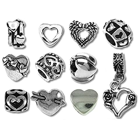 Heart Beads and Charms for Pandora Charm Bracelets Happy Valentine Hearts