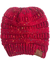 a5b655822afd Aikowener Chapeau tricoté Dames épaissir avec des Tresses Trou Bonnet  écharpe en Tricot Filles ...