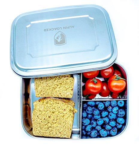Alpin Loacker Edelstahl Lunchbox Groß 1800ml Brotdose, Bento Box, Vesperdose   mit Fächern, Trennwand   Die große Brotbox zum Wandern, Reisen, Schule, Kindergarten (ohne Schneidbrett, 1800ml)