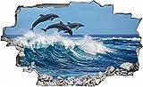 DesFoli Delfine 3D Look Wandtattoo 70 x 115 cm Wanddurchbruch Wandbild Sticker Aufkleber C178