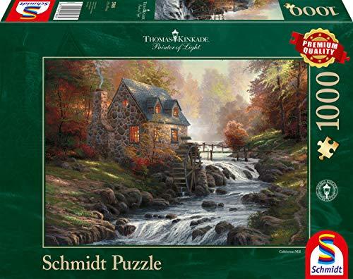 Schmidt Spiele - Thomas Kinkade, Bei der alten Mühle, 1.000 Teile Puzzle -