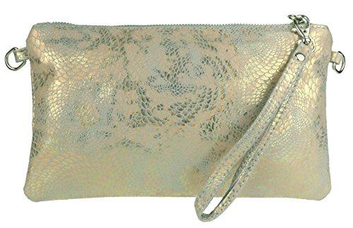 Designer Inspired Bag Purse Handtasche (Girly HandBags Neue italienische Wildleder Schlange Holographic Clutch Bag)