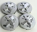 4alta calidad Peugeot 60mm aleación Badge gris cromo Logo Emblema Mediados Hub–Tapas Buje tapas Buje Tapa Llanta Tapa Tapacubos nadadores Peugeot 106107206207306307506507108208308
