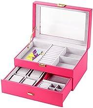 JQAM Caja de Joyas de Cuero Reloj Organizador de Almacenamiento con Lock Mini Estuche de Viaje 2 Capas Gavetas de Almacenamiento
