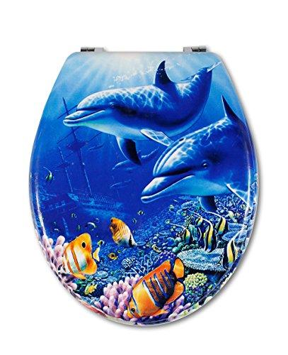 Vetrineinrete Copriwater universale in legno MDF serigrafato tavoletta da bagno wc con stampa cerniere in acciaio inox resistente 52960A (Delfini) G20