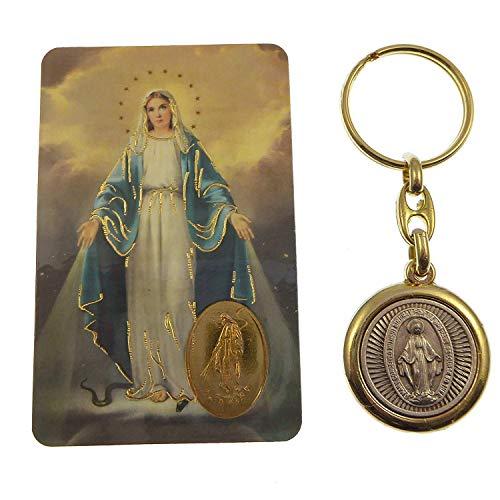 Virgen María Milagrosa latón y plateado llavero con Memorare tarjeta de oración)