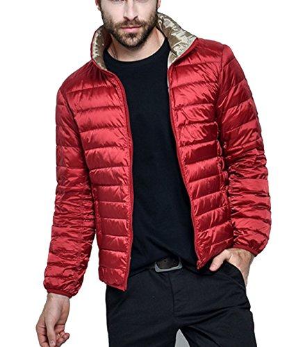 Herren Packable Winter Daunenmantel Leichte Wende Warm Puffa Jacke rotes Silber