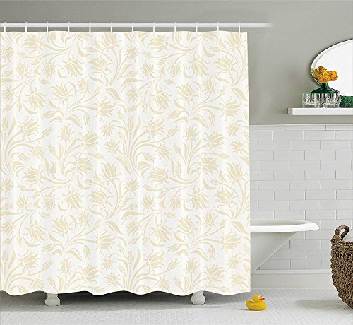 Ivory Shower Curtain, Baroque Elegance Curved Leaves Floral Blooms Artistic Nature Beauty Kitsch Elegance Motif, Fabric Bathroom Decor Set with Hooks, 60 * 72inch Extra Long, Cream Ivory Floral Swag
