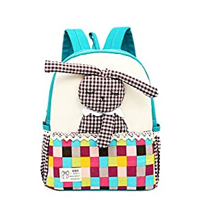 Moolecole Cartoon 3D Rabbit Doll Kids Kindergarten Mochila Canvas Toddler Girls Nursery School Bag Bookbag