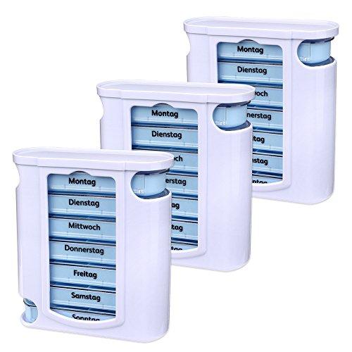 Schramm 3er Pack Tablettenboxen Weiss mit Blauen Schiebern 7 Tage Pillen Tabletten Box Schachtel Tablettendose Pillendose Pillenbox Tablettenboxen Pillendosen Pillen Dose Wochendosierer