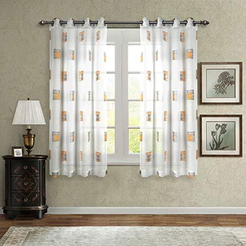Singingglory Voile-Vorhänge, 2 Paneele, Leinenstruktur, solide Ösen, Vorhänge mit Raffhaltern für Wohnzimmer und Schlafzimmer 52x63 Yellow Grid -