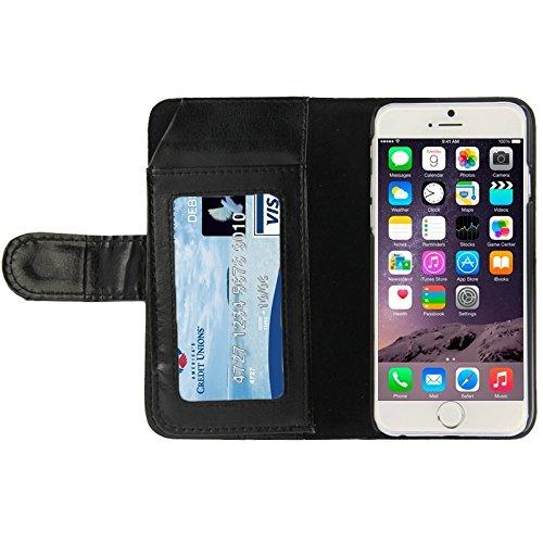 Phone case & Hülle Für iPhone 6 / 6S, Crazy Horse Texture Wallet Style Ledertasche mit Card Slots ( Color : Purple ) Black