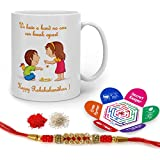 Indigifts Rakshabandhan Gifts For Brother Bond That Never Break Quote Printed Gift Set Of Mug 330 Ml, Crystal Rakhi For Brother, Chawal, Tika & Greeting Card - Raksha Bandhan Gifts, Best Rakhi Gifts For Brother, Rakhi For Brother With Gifts