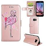 Ailisi Samsung Galaxy S6 Edge Hülle, [Rosa Flamingo] PU Leder Wallet Flip Handy Case Cover mit Weich TPU Innere, Magnetisch Schutzhülle mit Kartenfach Standfunktion Brieftasche Ledertasche(Roségold)