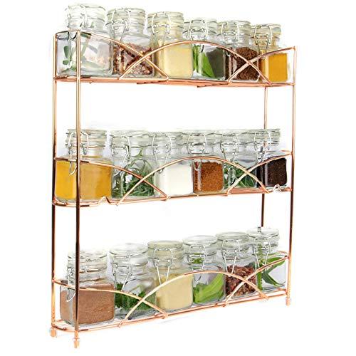 Maison & White Organizador de racks de hierbas y especias de 3 niveles | Diseño moderno antideslizante independiente | Diseño universal | Solución de almacenamiento de cocina y despensa oro rosa