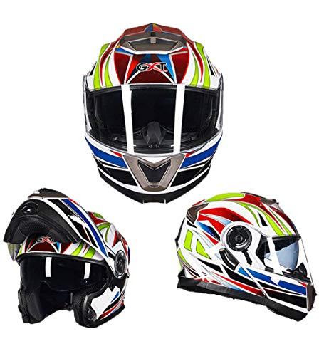 YOJDTD Helm Motorradhelm atmungsaktiv Integralhelm Integralhelm Vier Jahreszeiten Universalhelm, weiß bunt Fünf-Sterne_L