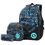 Jugendlichen Jungs Schulrucksack Casual Canvas Jungen Schultasche mit Fluoreszenz 3