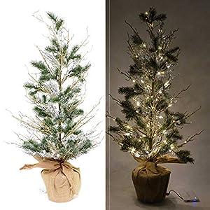 Shatchi 11886-CHRISTMAS-TREE-24 Árbol de Navidad de 24 pulgadas con luces blancas cálidas para interiores, decoración navideña, grande, 60 cm de decoración, verde