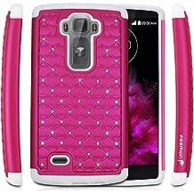 Fosmon® LG G Flex 2 Funda [HYBO-SD] estrella diamante Caso híbrido para LG G Flex 2 - Fosmon empaquetado al por menor (Caliente Rosa/Blanco)