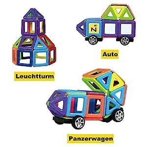 InnooTech 76tlg mini Magnetische Bausteine Konstruktionsbausteine Bauklötze Baukasten Konstruktion Blöcke Magnetspielzeug Lernspielzeug für Baby Kleinkind ab 3 Jahre