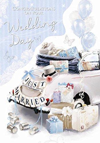 Just Married Auto Koffer Flitterwochen Luftballons Schmetterling Design Wedding Day Karte