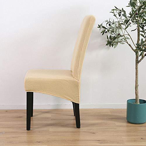 Fodera per sedia elasticizzata tessuto in pile scozzese color crema,coprisedie con schienale,copertura protettiva per sedie,lavabile estraibile coprisedile,fodere coprisedia per sala da pranzo(4pcs)