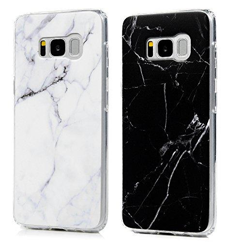S8 Marmor Hülle, KASOS Marble Handyhülle : Silikon Case Weich TPU Huelle mit IMD Technologie für Samsung Galaxy S8, Schwarz + Grau Weiß