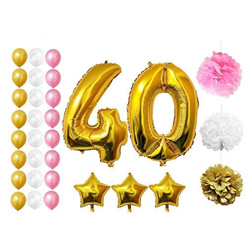 Happy Birthday Party Luftballons u. Dekoration zum 40. Geburtstag von Belle Vous - 32-tlg. Set - Großer 40 Jahre Luftballon - 30,5cm Gold, Rosa u. Weiße Dekorative Latexballons - Dekor für Erwachsene