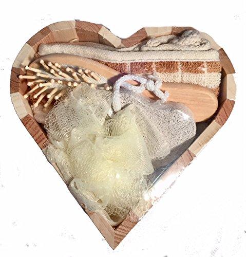 Geschenkeset Badezimmer, Sauna,5 teilig, blau/braun Set Holz Herz 19x19x5cm Luffaschwamm, Bürste, Schwamm, Stein Saunaset Geschenkset