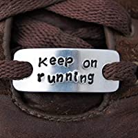 Personalised Trainer Tags (A Pair) - aluminium shoelace tags - Lace plates - Marathon Shoelace Charms, Runner Jewellery. Keep on running.