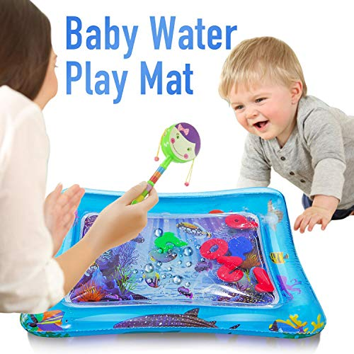 Water Play Mat Baby Inflatable Baby Tummy Time Water Pad Free-BPA Leakproof for Infants & Toddlers Perfect Fun Time Play Activity Center Toys Stimulation Growth - Rattle (Random Color)