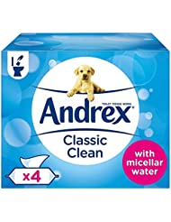 Andrex Washlets, Classic Clean Flushable Toilet Tissue Wipes, Pack of 4