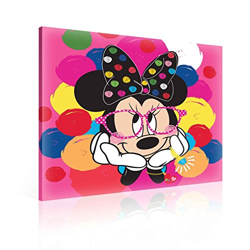 TapetoKids Leinwandbild Minnie Maus kokett mit Brille - S - 40 x 40 cm - Komplettpaket! - fertig...