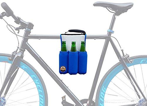 Bierhalter fürs Fahrrad, Bier-Halterung inkl. Kühlung für Fahrrad-Ausflug im Sommer, Getränkehalter für gekühltes Sixpack beim Bier-Picknick, Halter für sechs Flaschen Bier bei Fahrradtour BLAU