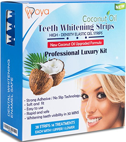 WOYA Kit de Blanqueamiento Dental de Tiras Blanqueadoras con Aceite de Coco - 28 Bandas Blanqueadoras Para Dientes Blancos y Esmalte Seguro - Producto Blanqueador Dental Profesional para 2 Semanas