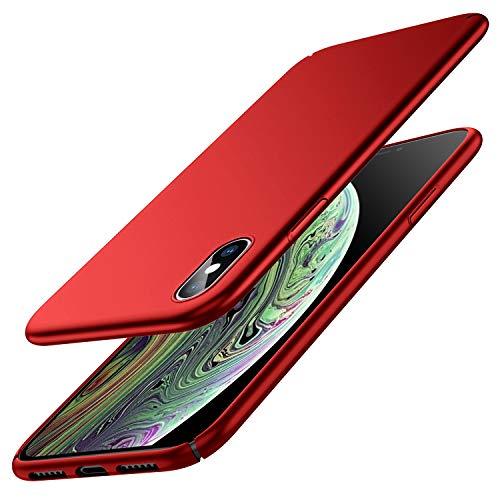 Zinuu iPhone X Hülle Dünn Matte Schlank Hart Ultra Slim [Nur für iPhone X,Passen Garnicht iPhone XS Kamera] Anti-Scratch PC Anti-Fingerabdruck Leicht Case Kabelloses Aufladen Hülle für iPhone X (Rot)