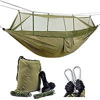 Healthmmo Kelenpro ligero Camping hamaca con mosquitera ligero nylon paracaídas hamaca 440lb hamaca de carga para jardín al aire libre Camping senderismo mochila de viaje